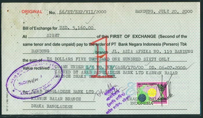 Indonesia bill of exchange with revenueduty stamp rp 6000 view image in a new window thecheapjerseys Image collections